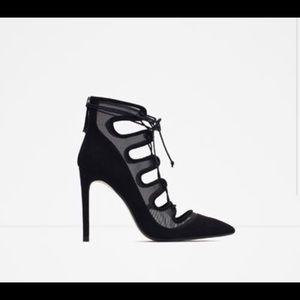 Zara Basic Black Suede Mesh Lace-up Heels